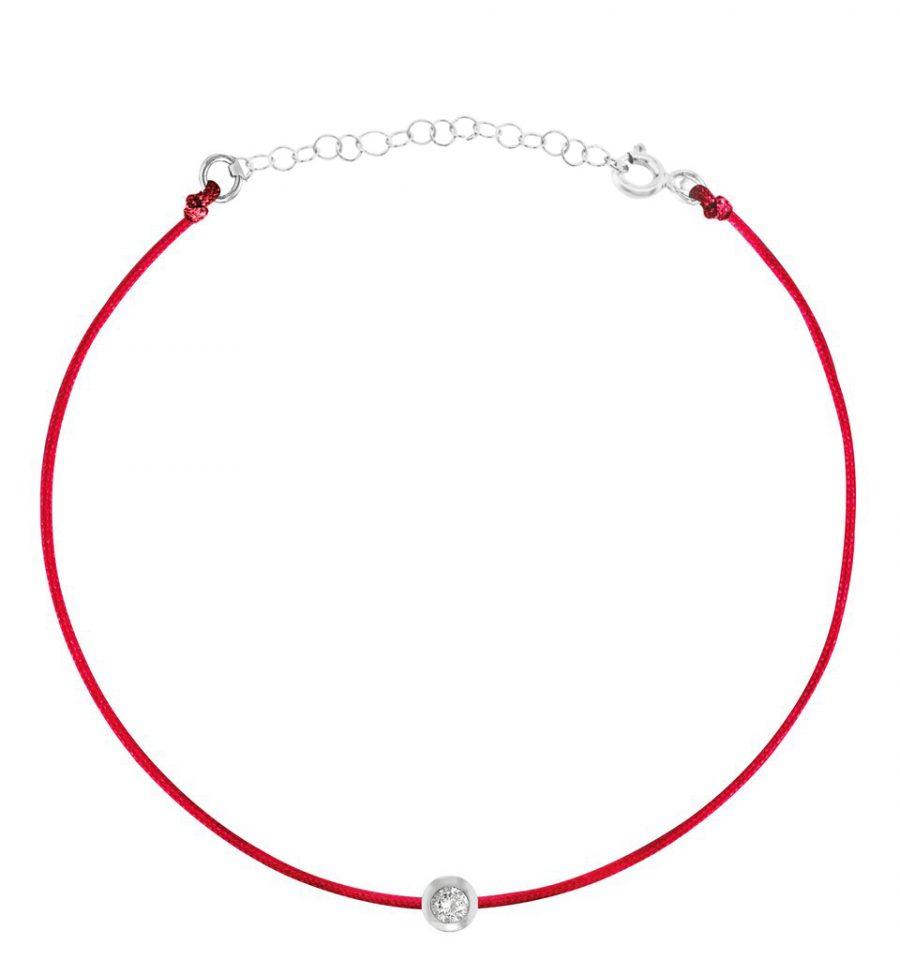 צמיד חוט אדום עדין זירקון עגול