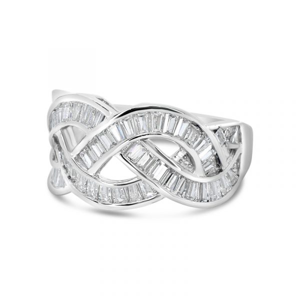 טבעת כסף צמה זירקוני באגט