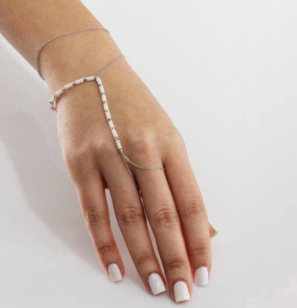 צמיד טבעת כסף פנינים