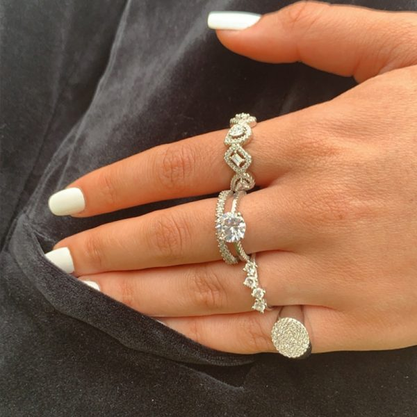 טבעת כסף טיפות מלבן