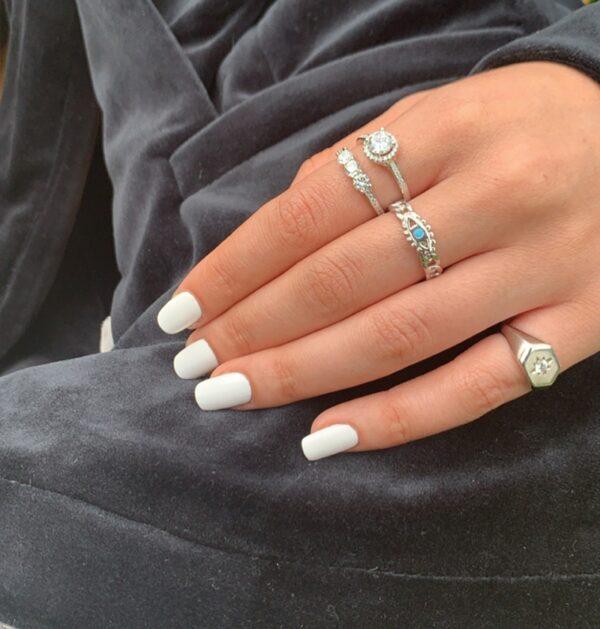 טבעת כסף חותם משושה זירקון