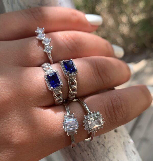 טבעת כסף חוליות זירקון כחול מלבני