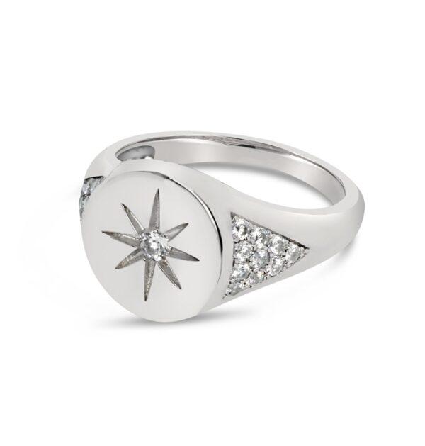 טבעת כסף חותם כוכב