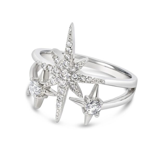 טבעת כסף שלושה כוכבים
