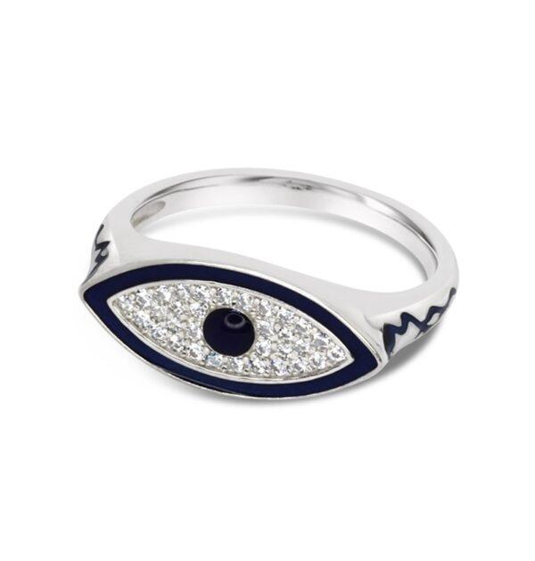 טבעת כסף חותם עין כחולה