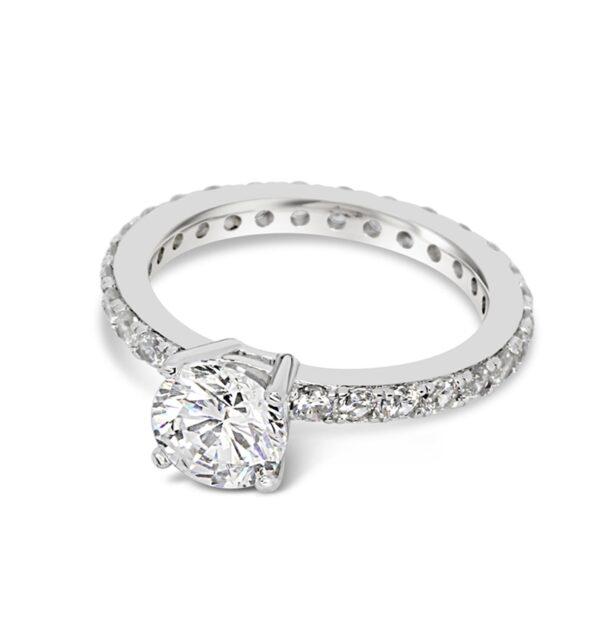 טבעת כסף סוליטר עגול
