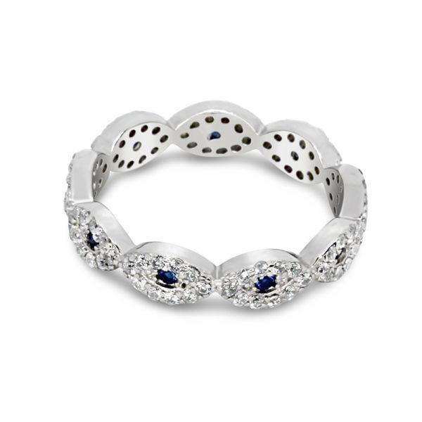 טבעת כסף שורת עיניים