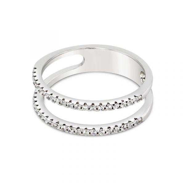 טבעת כסף שתי שורות משובצות