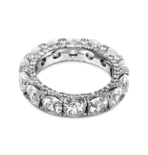 טבעת כסף שורת זירקונים עגולים