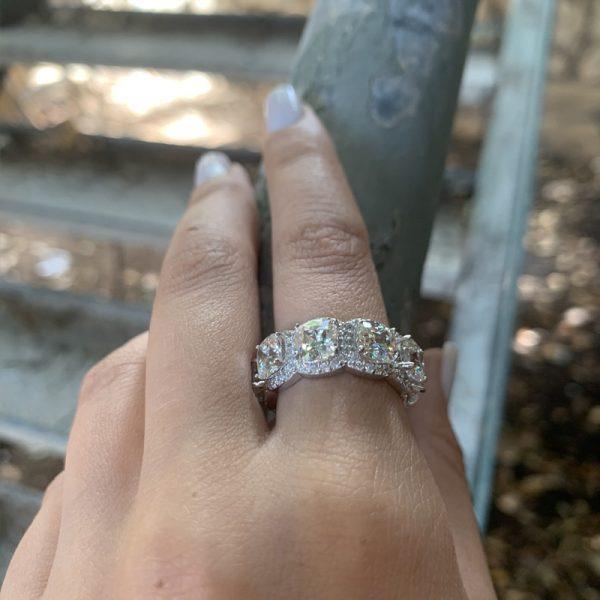 טבעת כסף מרובעים