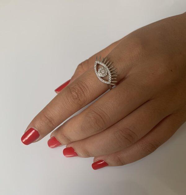 טבעת כסף עין קלאסית ריסים