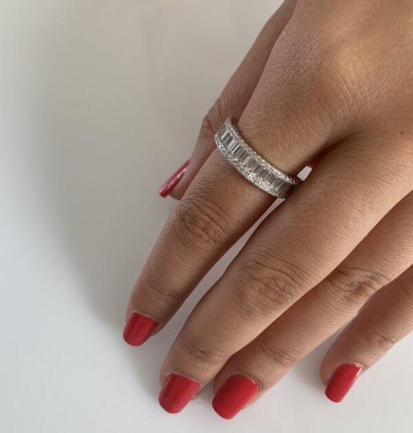 טבעת כסף קלאסית שורת בגאטים
