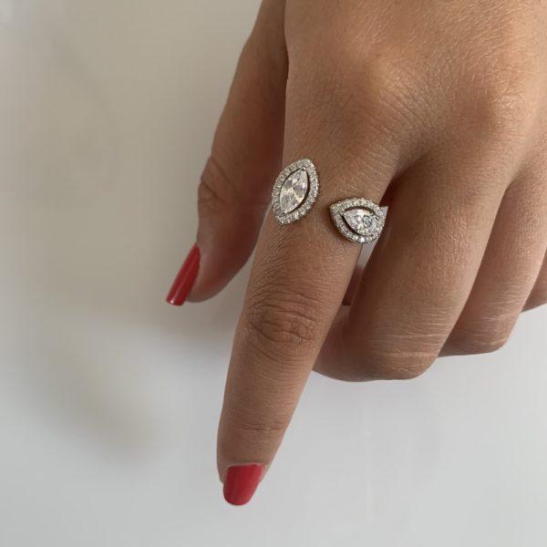 טבעת כסף פתוחה טיפות מנוגדות