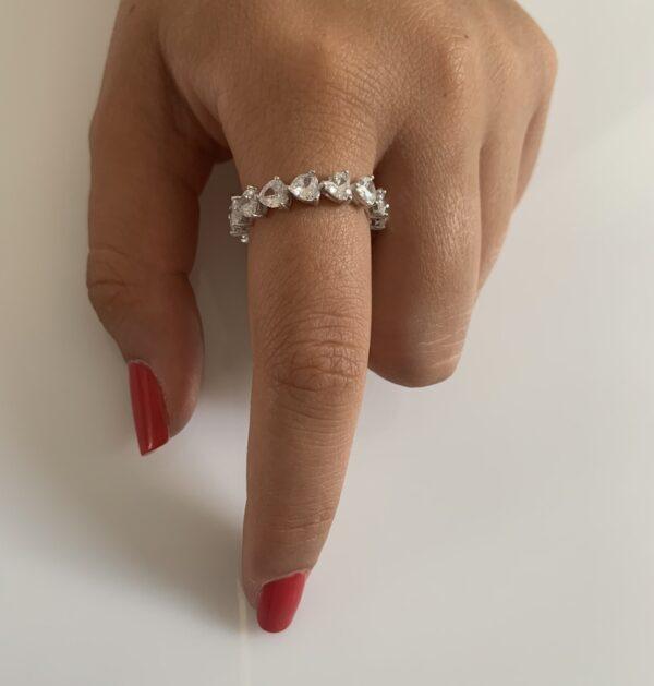 טבעת כסף שורת לבבות