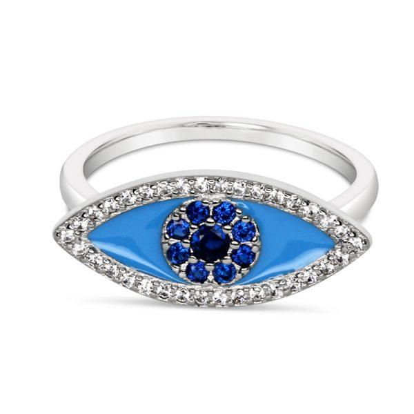 טבעת כסף עין אמייל טורקיז