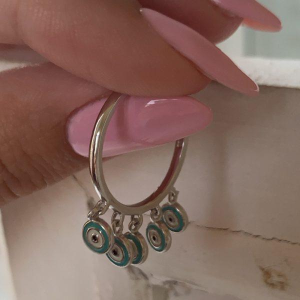 טבעת כסף עיניים תלויות