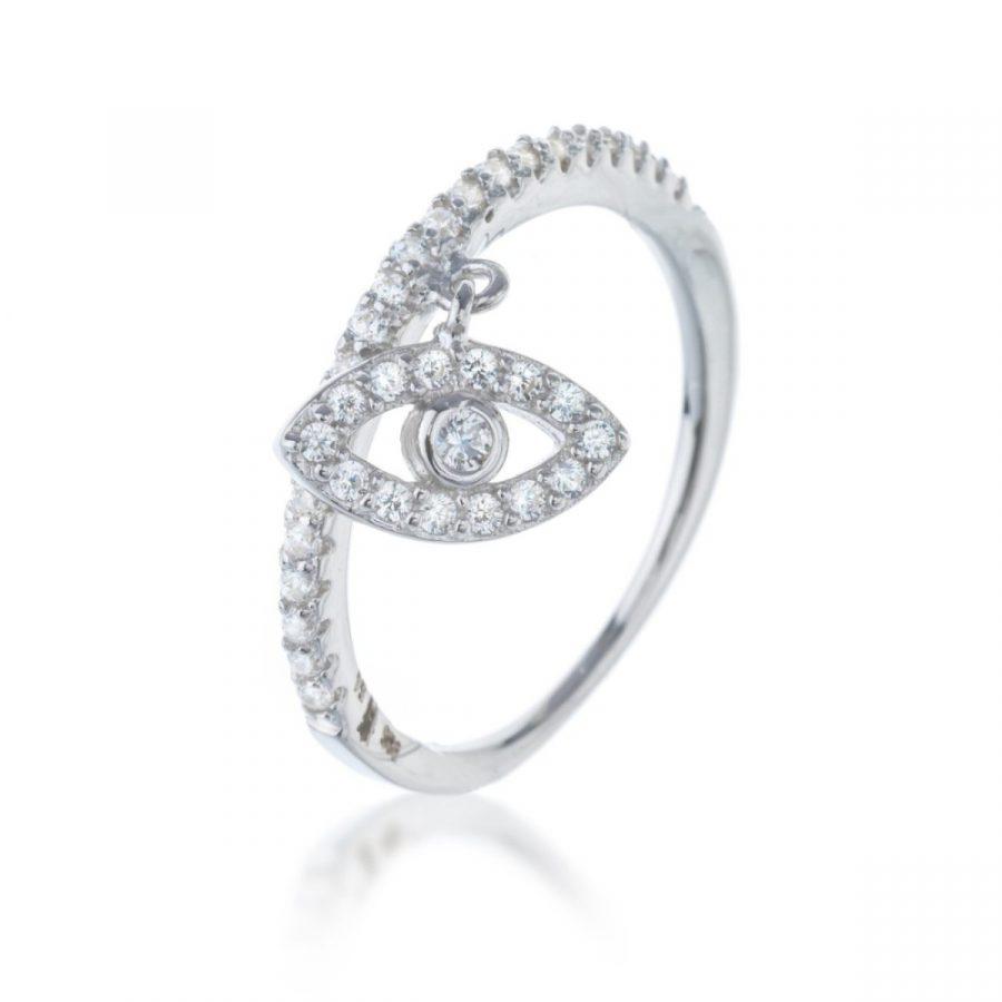 טבעת כסף עין תלויה משובצת זירקונים